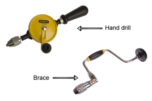 Hand drills and braces are manual tools