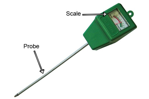 soil pH meter, labelled scale & indicator