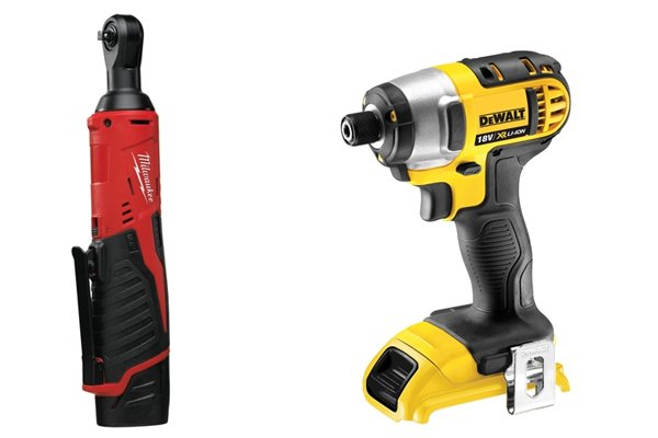 2 examples of cordless impact drivers: normal and right angled