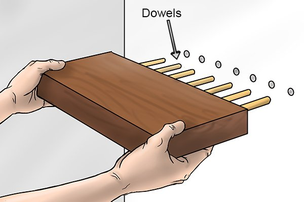 Pile of wooden dowels for use in wood joinery