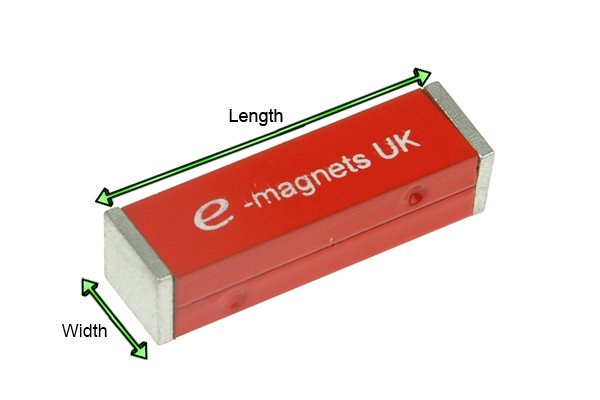 Two Red rectangular bar magnets held together by a keeper with labelled diameter and length