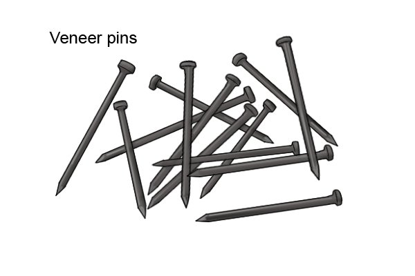 Veneer pins for use with a push pin