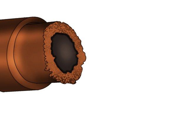 A burr on copper pipe