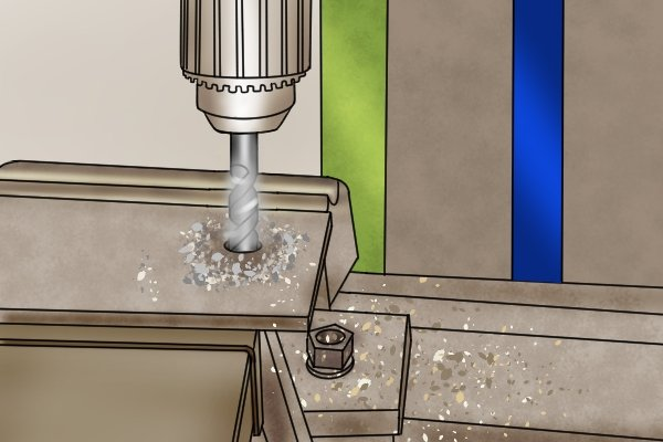 When drilling a hole, ensure the correct cutting and feed speeds are selected