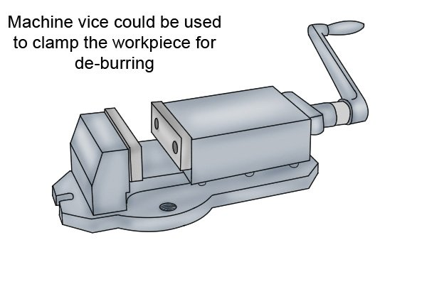 A machine vice could be used to clamp the work piece for de-burring