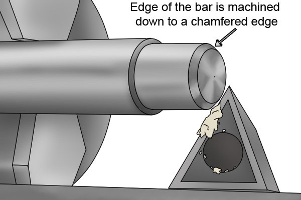 Edge of the bar is machined down to a chamfered edge *** try and replace with my own image