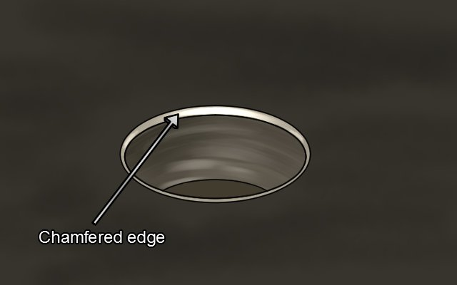 Chamfered edge created by de-burring