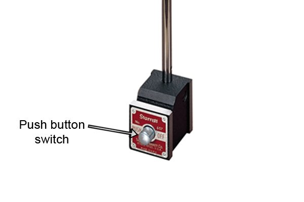 Push button magnetic base has a push button switch to turn the magnet on and off