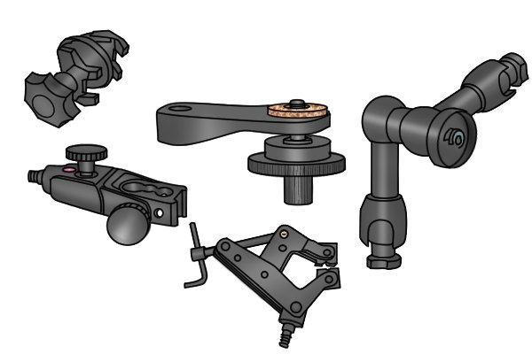 Selection of some of the accessories that are available for use with magnetic bases.