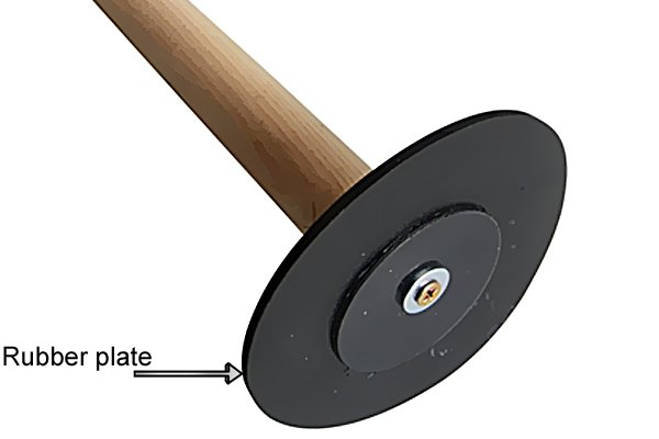 Rubber plate on a suction plunger