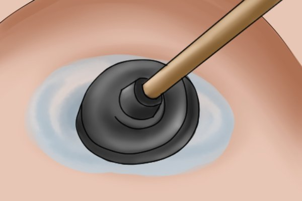 When a good seal is obtained the plunger is pressed down to force water down on to the blockage