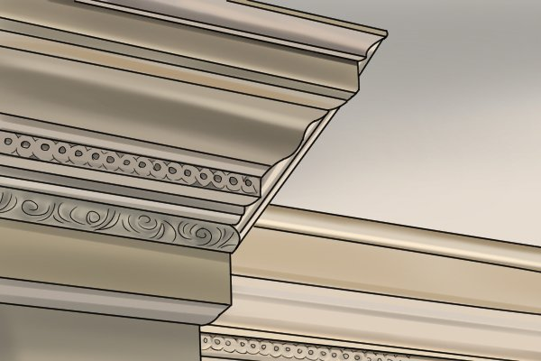 Cornice is patterned and more ornate than coving