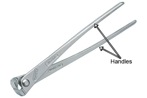 The handles of concretor's nippers and pliers provide the leverage needed to cut wire ties used on rebar.
