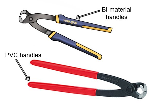 Some cocretor's nippers and pliers have bi-material or PVC handles.