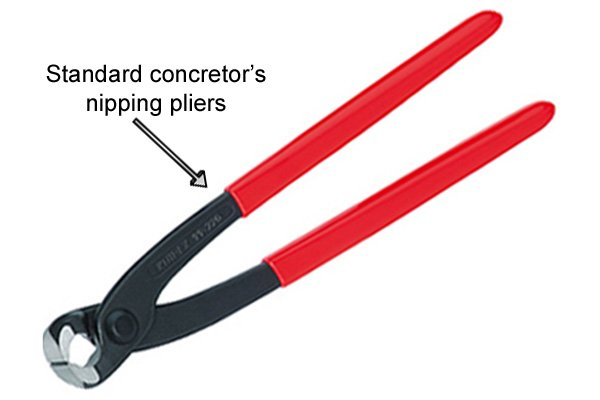 Standard concretor's nipping pliers