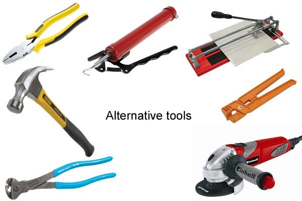 The alternative tools to using concretor's nippers and pliers are pliers, claw hammer, tile cutters, angle grinder, wire twisters and end cutting pincers depending on what task you are wanting to perform.