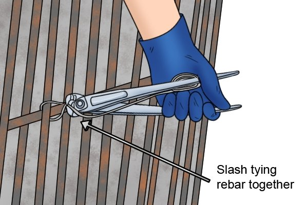 Slash tying rebar together using concretor's nippers and pliers