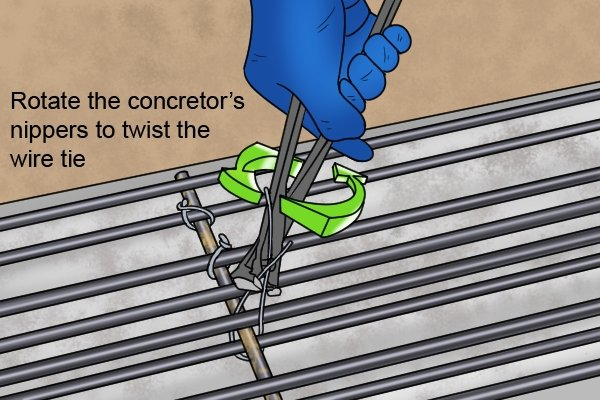 Holding the wire tie with concretor's nippers while you twist them around will tie the wire around the rebar.