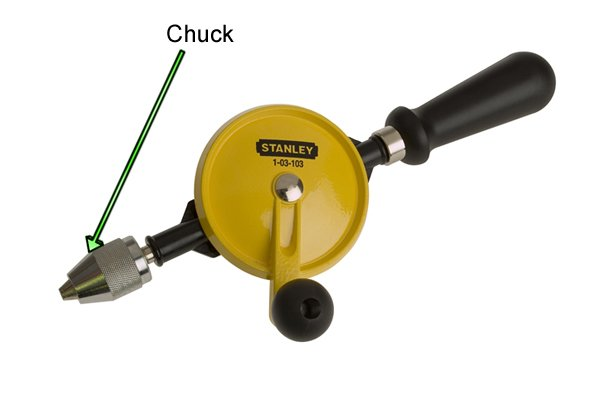 The chuck is used to adjust the jaws, clamping or releasing the drill bit