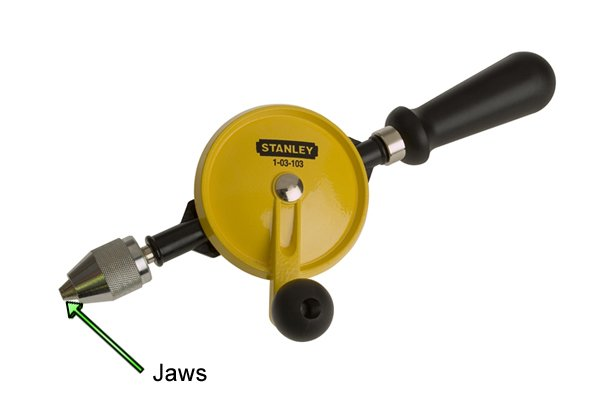 The jaws are part of the chuck and can be adjusted to clamp a drill bit in place or separated to release it