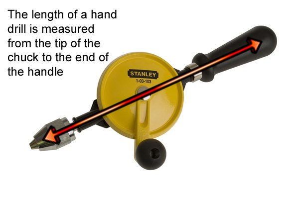 Hand drills are sized by their length from the tip of the chuck to the end of the handle or breast plate