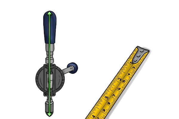 The length of a hand drill will often be stated in both metric and imperial measurements.