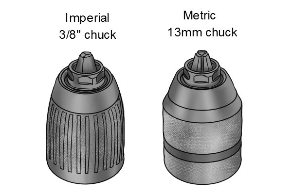 Chucks of hand drills and braces can be sized in both imperial and metric measurements
