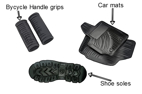 Other products that are also made of thermoplastic rubber are; car mats, bicycle hand grips and shoe soles