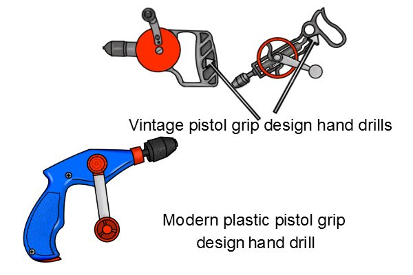 Unlike modern plastic pistol grip hand drills vintage pistol grip hand drills were made of steel or iron and hand the gears of the drive wheel and pinion exposed