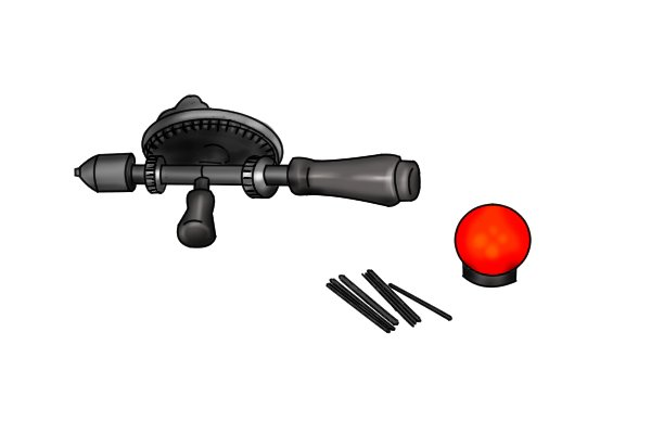 Hand drill with handle end cap removed and small drill bits that can be stored inside the handle