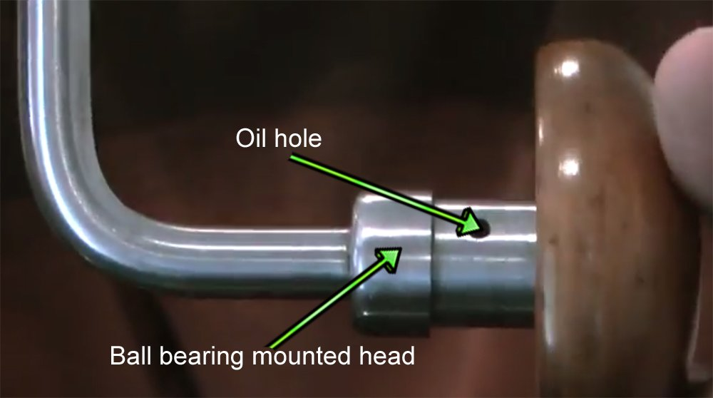 Braces with ball bearing mounted heads will often have an oil hole to keep the bearings lubricated.