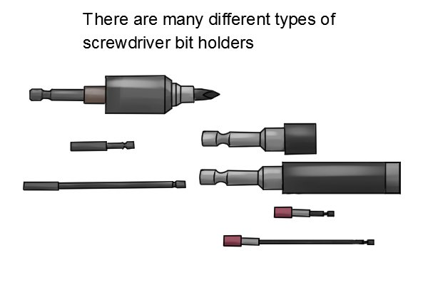 There are many different types of screwdriver bit holders available each is designed to be better at holding a certain type of bit of performing a certain task. They all come with a hexagonal shaft though.