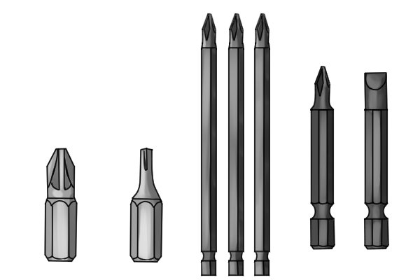 Selection of different screwdriver bits each designed to turn a different type of fastener.