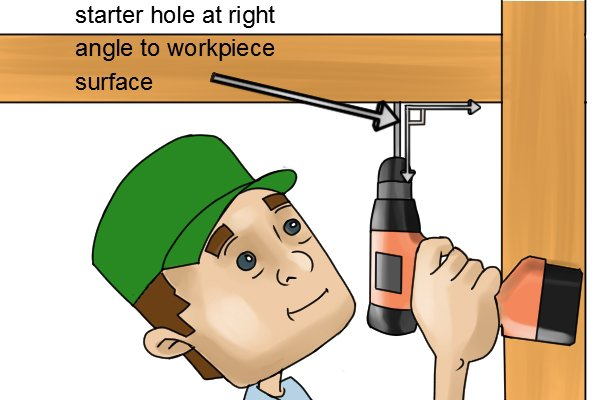 Create a starter hole a few millimetres deep at a right angle to the workpiece surface