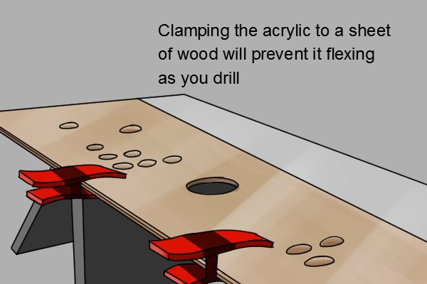Clamping acrylic to wood will help prevent the acrylic from flexing and cracking whilst you drill it.