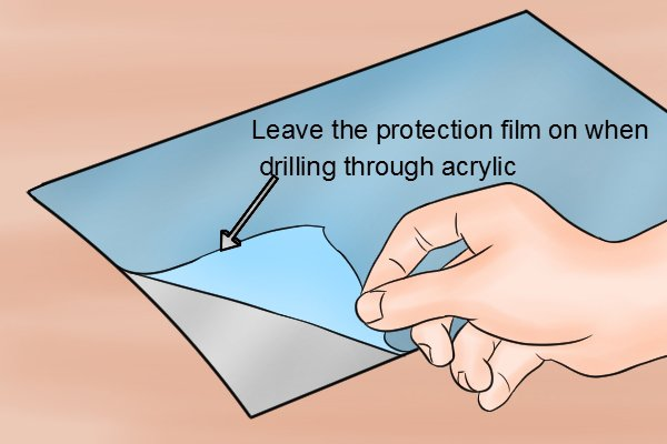 Leaving the protective film on acrylic when drilling will help the drill bit grip and start the hole as well as reducing the chance of the acrylic cracking.