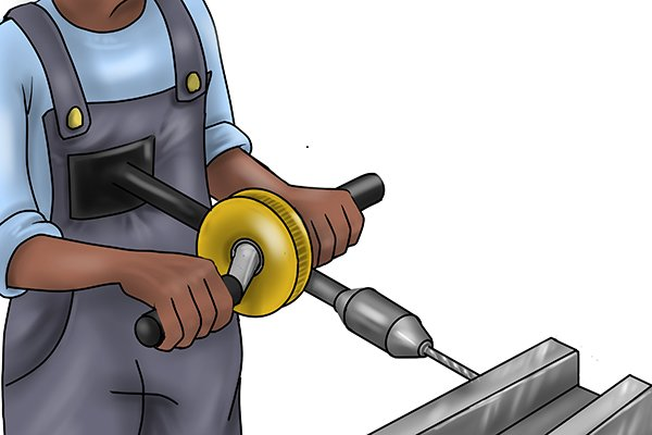 A breast plate hand drill will allow you to apply more pressure whilst drilling but should only be used with larger drill bits as the extra pressure applied could break small ones.
