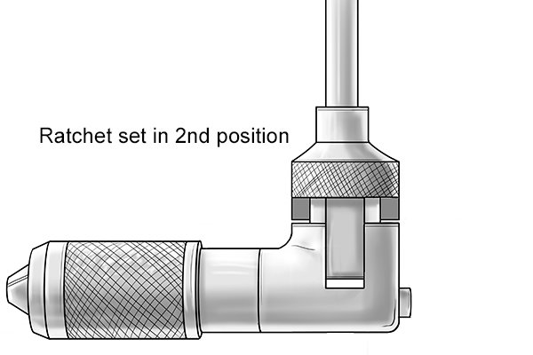 Brace with collar ratchet setting adjustment set in 2nd position so that the chuck will only turn in an anti-clockwise direction