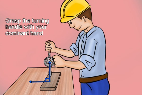 With the hand drill positioned vertically grasp the turning handle with your dominant hand and the main handle with your non-dominant hand as you would an umbrella