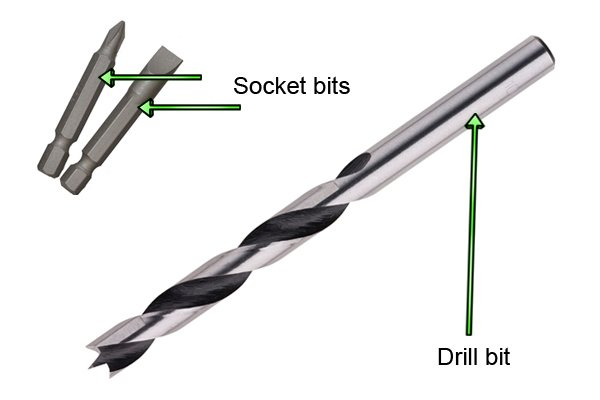 Socket bits and drill bits can be used with a hand drill for drilling holes or driving in or removing screws