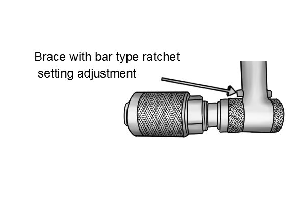 The other type of ratchet adjustment found on a braces is a bar that moves backwards and forwards through 3 positions, one for each ratchet setting.