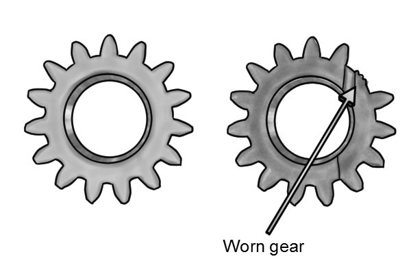 Hand drill gears that are not lubricated will wear