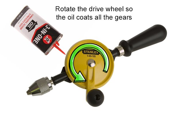 Rotate the hand drill drive wheel so the oil coats all the gears.
