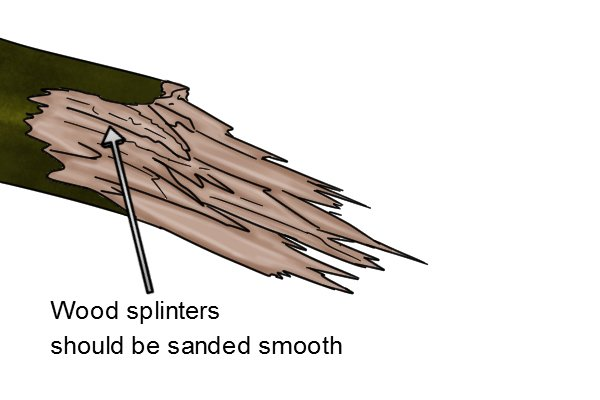 Wooden splinters need to be sanded down smooth