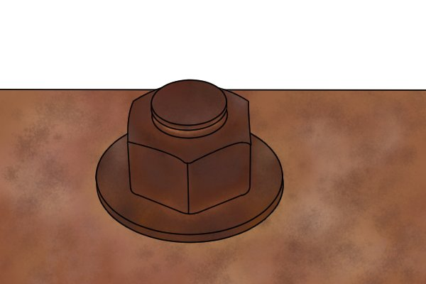 Rusted nuts can become stuck to bolt shafts and be extremely difficult to remove.