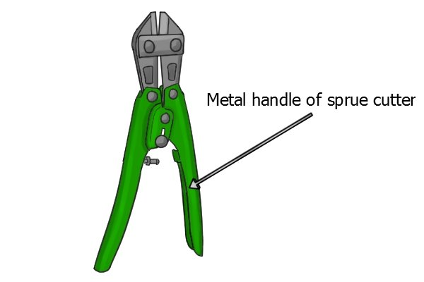 Sprue cutter with metal handles