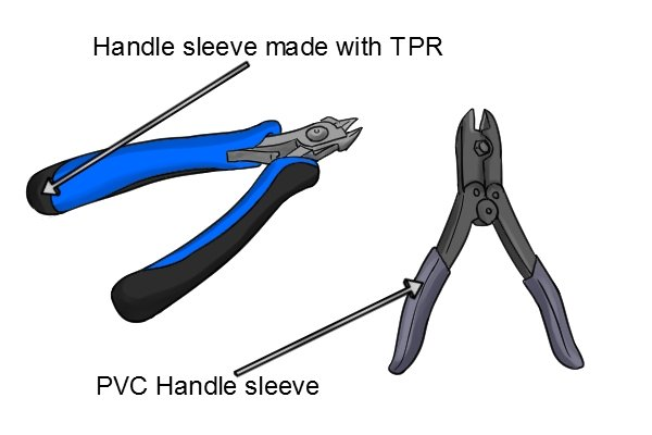 Sprue cutters with PVC and TPR handle sleeves