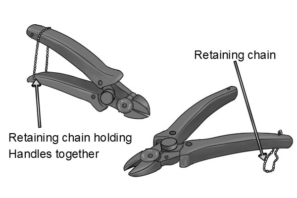 Retaining chain on a sprue cutter is used to hold the handles together