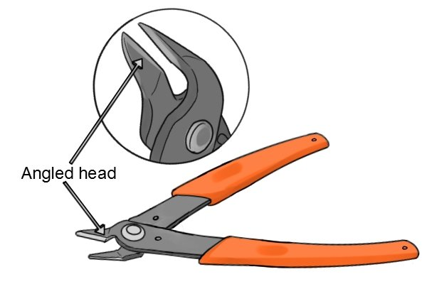 Angled head on sprue cutters can help gain access to tight areas when cutting out delicate parts.