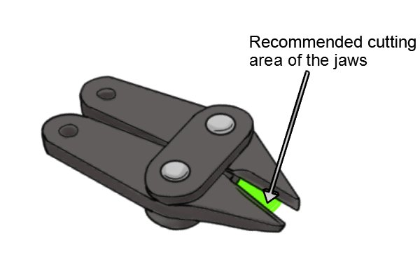 To reduce the effort required to cut a sprue the sprue should be placed in the recommended cutting area of the sprue cutter jaws which is between half way along the cutting edge of the jaws back to the joint.